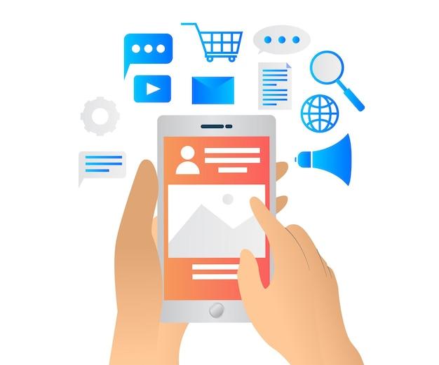 Vlakke stijlillustratie over marketingstrategie voor sociale media met smartphone en pictogram