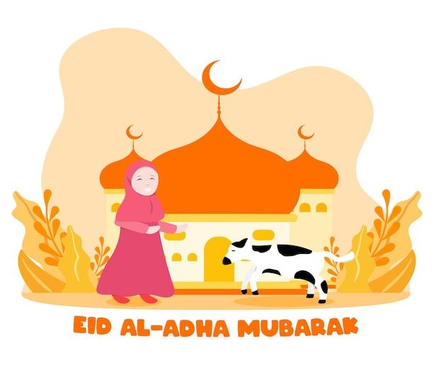 Vlakke stijlillustratie van moslimmeisje met offerdierkoe voor eid al adha-begroetingsconcept islamitische vakantie