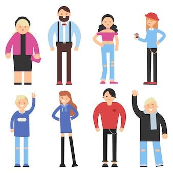 Vlakke stripfiguren van verschillende volkeren