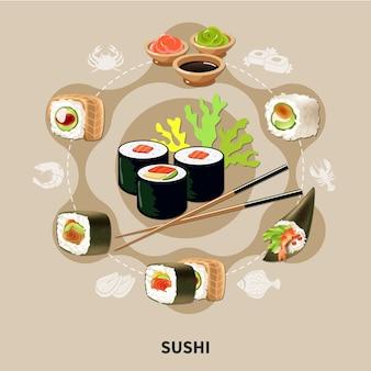 Vlakke sushi-samenstelling met verschillende soorten sushi of broodjes die in een cirkel zijn gerangschikt