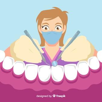 Vlakke tandarts die een tandachtergrond behandelt