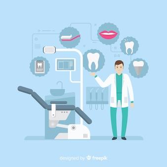 Vlakke tandartsen die een tandachtergrond behandelen