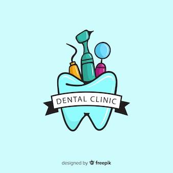 Vlakke tandheelkundige kliniek logo