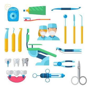 Vlakke tandinstrumenten geplaatst het concepten vectorillustratie van tandartshulpmiddelen.