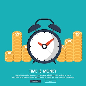 Vlakke tijd is geldconcept