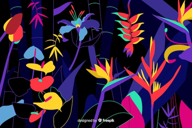 Vlakke tropische bloemen en bladeren
