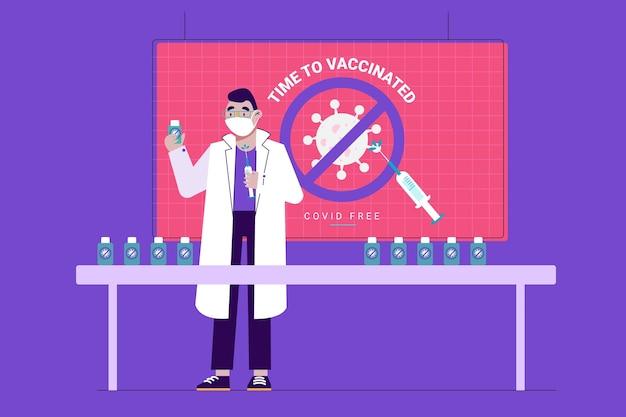 Vlakke vaccinatiecampagne met masker