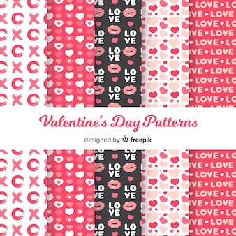 Vlakke valentijn patroon collectie