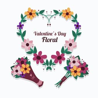Vlakke valentijnsdag bloemencollectie