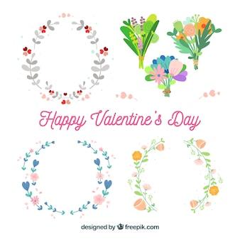 Vlakke valentijnsdag bloemenkransen en boeketten