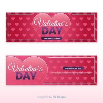 Vlakke valentijnskaart banner tempate