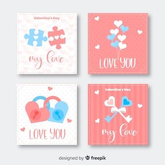 Vlakke valentijnskaart-kaartinzameling