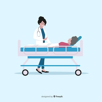 Vlakke verpleegster die geduldige achtergrond helpt