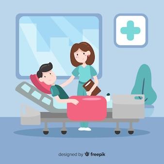Vlakke verpleegster die patiënt behandelt