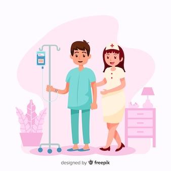 Vlakke verpleegster die patiënt helpt
