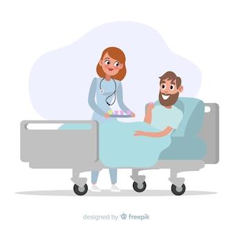 Vlakke verpleegster die zieke patiënt helpt