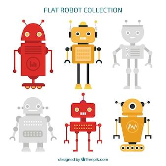 Vlakke verzameling robotkarakters