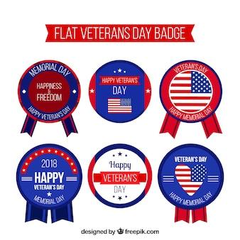 Vlakke veteranen dag badges