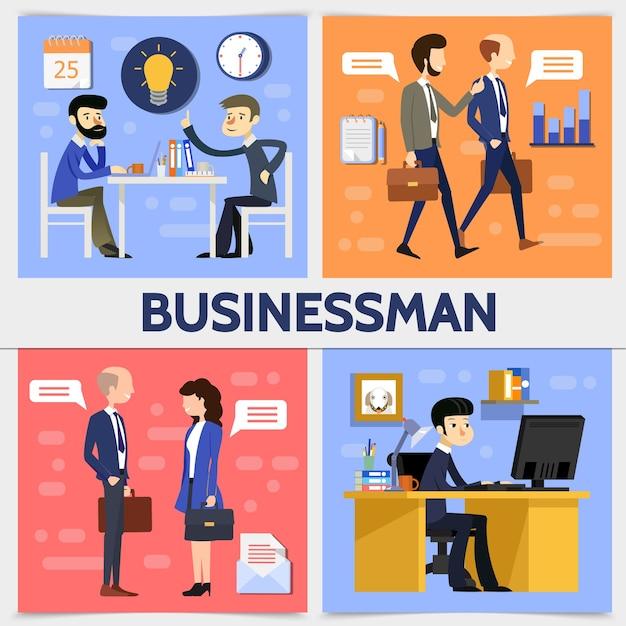Vlakke vierkante bedrijfsconcept met zakenlieden managers gloeilamp klok kalender toespraak wolken