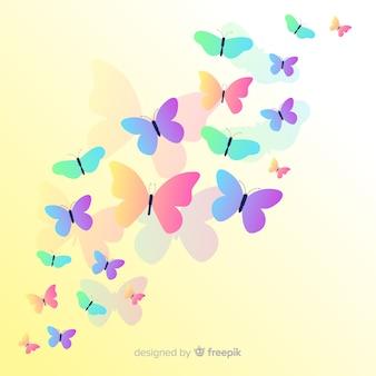 Vlakke vlinders die achtergrond vliegen