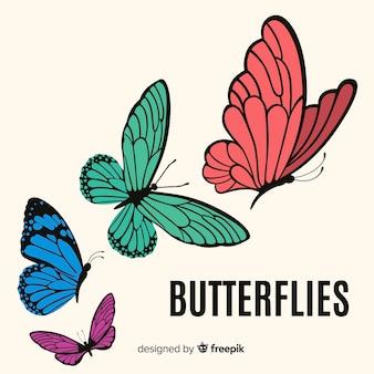 Vlakke vlinders vliegen