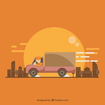 Vlakke vrachtwagen en gebouwen
