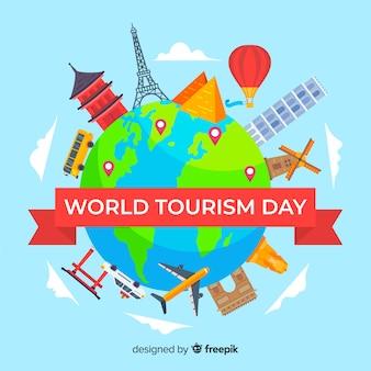 Vlakke wereld met bezienswaardigheden en vervoer toerisme dag achtergrond