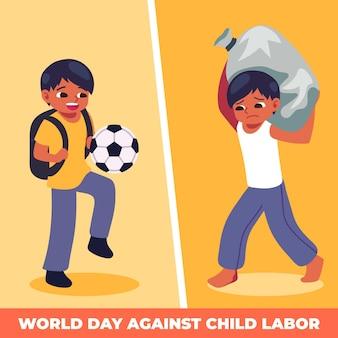 Vlakke werelddag tegen illustratie van kinderarbeid