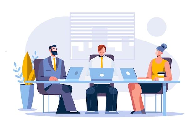 Vlakke werkdagscène met verschillende zakenmensen