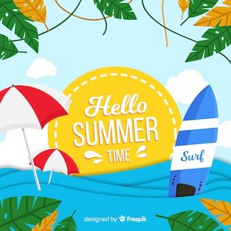 Vlakke zee hallo zomer achtergrond