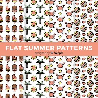 Vlakke zomer patroon collectie
