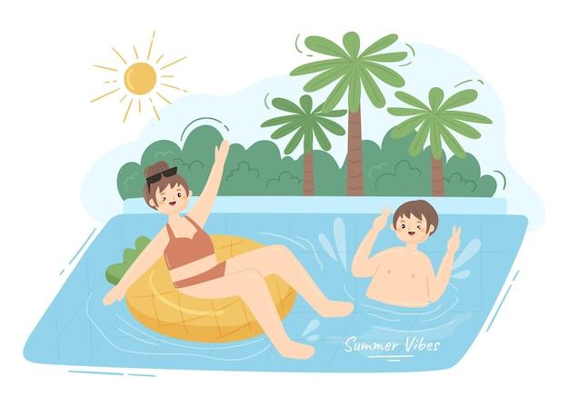 Vlakke zomerscène met mensen die zwemmen