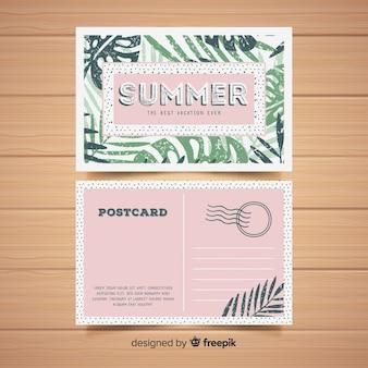 Vlakke zomervakantie briefkaart