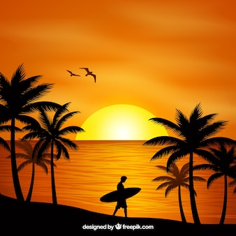 Vlakke zonsondergangachtergrond met palmen