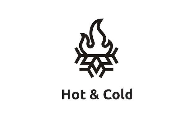 Vlam en sneeuwvlok met eenvoudig lijnstijl logo ontwerp