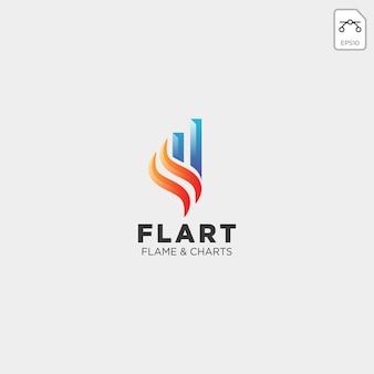 Vlam grafiek statistiek logo sjabloon vectorillustratie