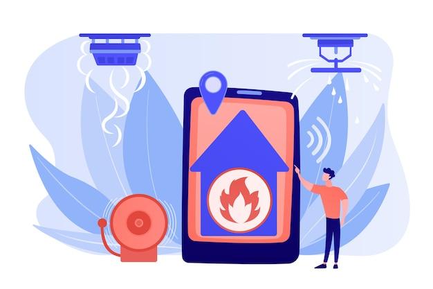 Vlam in huis op afstand. slimme woning, hightech. brandalarmsysteem, brandpreventiemethoden, rook- en brandalarmconcept. roze koraal bluevector geïsoleerde illustratie