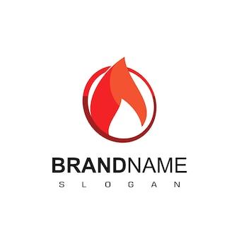 Vlam logo sjabloon met cirkel omtrek