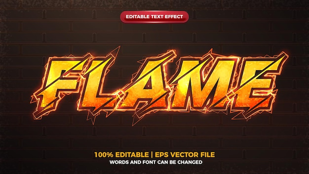 Vlam oranje elektrische bout bewerkbaar teksteffect