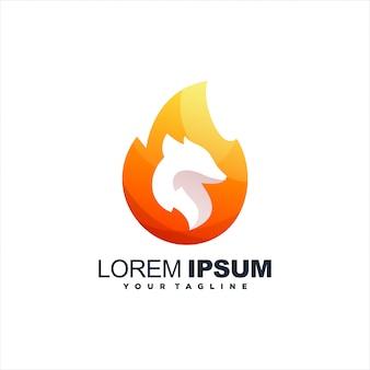 Vlam vos gradiënt logo-ontwerp