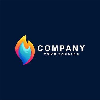 Vlam vuur gradiënt logo ontwerp