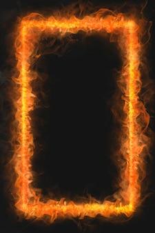 Vlamframe, rechthoekige vorm, realistische brandende vuurvector