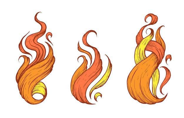 Vlammen handgemaakte vectorkunstillustratie gemaakt met pen en inkt