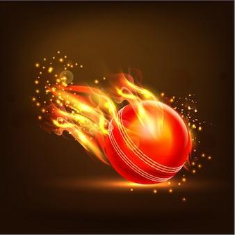 Vlammende cricket bal achtergrond