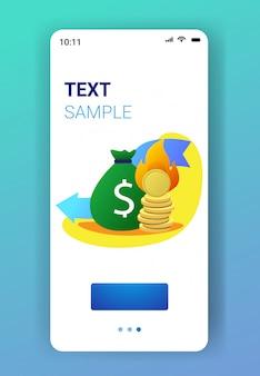 Vlammende geldzak en munten stapel met vuur vallen economische pijl financiële crisis failliet investeringen mislukking risico concept smartphone scherm mobiele app verticaal