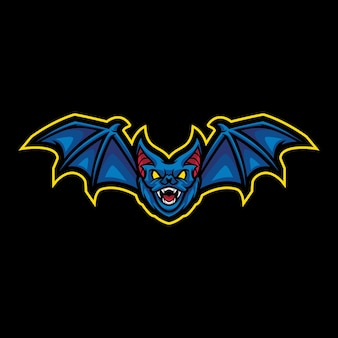 Vleermuis mascotte logo ontwerp