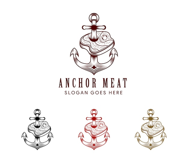 Vlees anker logo ontwerpsjabloon