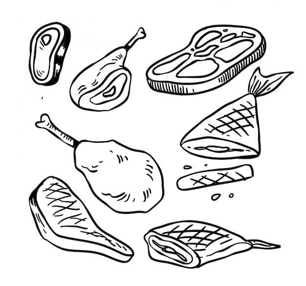 Vlees doodle. vlees vector