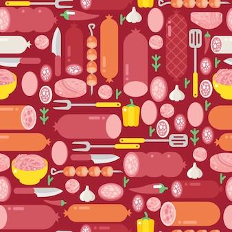 Vlees en worsten naadloos patroon