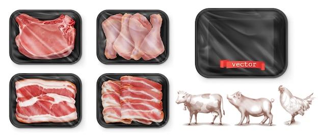 Vlees eten. rundvlees, varkensvlees, kippenpoten. zwarte polystyreen verpakking.